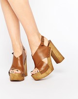 Park Lane Platform Cross Strap Leather Heeled Sandals