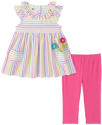 Kids Headquarters Girls' Leggings ASSORTED - Rainbow Stripe Pocket-Accent A-Line Top & Hot Pink Leggings - Infant, Toddler & Girls