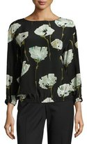 Lafayette 148 New York Evie Bateau-Neck Pressed Peonies-Print Silk Blouse, Multi