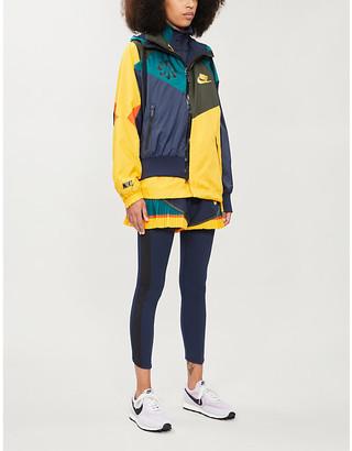 Nike X Sacai Drawstring-hood contrast-panel shell jacket