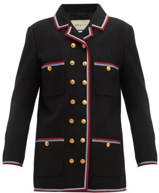 Gucci Web-striped Single-breasted Tweed Jacket - Womens - Black Multi