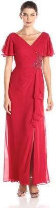 Marina Women's Short Flutter Sleeve Embellished Dress with Cascaded Side and Slit