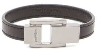 Saint Laurent Logo-engraved Clasp Leather Bracelet - Mens - Black