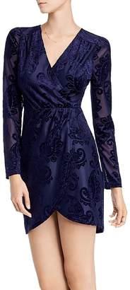 Aqua Flocked Paisley Puff-Sleeve Dress - 100% Exclusive