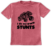 Urban Smalls Heather Red 'I Do My Own Stunts' Tee - Toddler & Boys