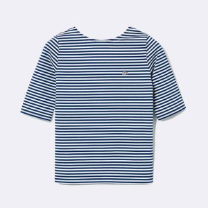 Lacoste Women's Live Striped Stretch Cotton T-Shirt - 38 / AZUL / WOM