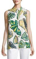 Lafayette 148 New York Justin Palm-Print Linen Blouse