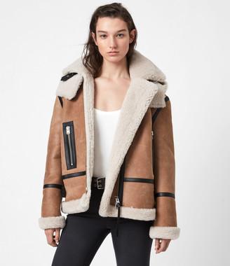 AllSaints Lillie Hooded Shearling Jacket