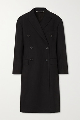Acne Studios Oversized Double-breasted Linen And Wool-blend Twill Coat - Black