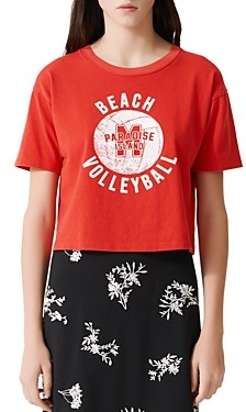 Maje Tango Cropped Volleyball Graphic Tee
