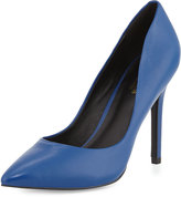 Charles by Charles David Pact Leather Pointed-Toe Pump, Electric Blue