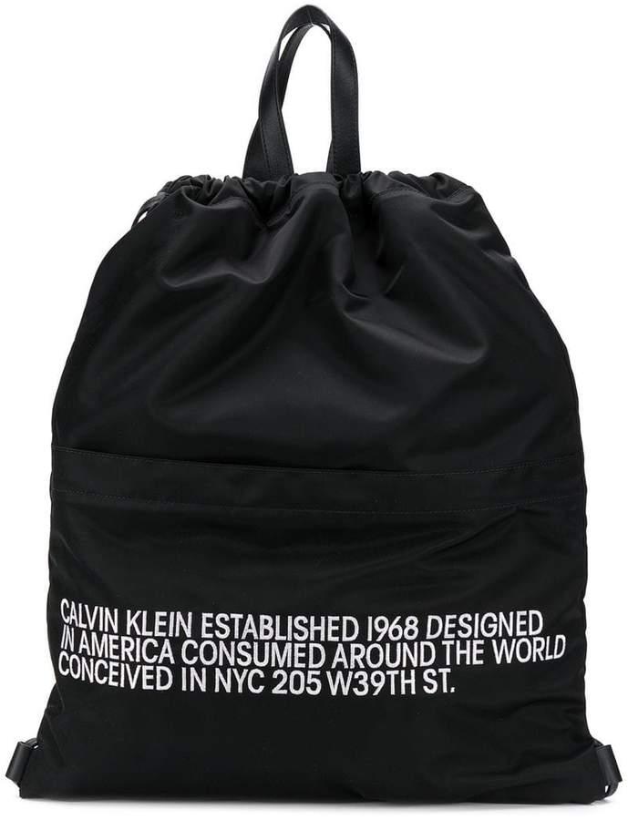 Calvin Klein slogan drawstring backpack