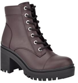 Nine West Women's Quenton Lace-Up Lug Sole Heeled Combat Booties Women's Shoes