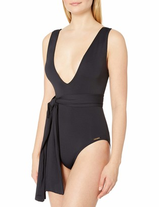 Vince Camuto Women's Belted Plunge V-Neck One Piece Swimsuit