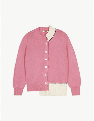 Marni Asymmetrical knitted cotton cardigan 6-14 years