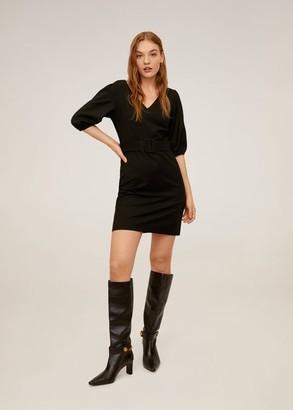 MANGO Short belted dress black - 6 - Women