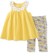 Kids Headquarters 2-Pc. Clip-Dot Flowers Tunic & Capri Leggings Set, Baby Girls (0-24 months)