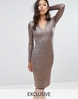 Club L Midi Dress with V-Neck