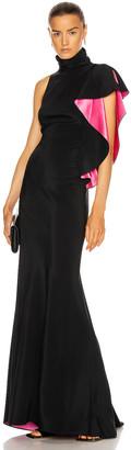 Redemption Long Dress With Draped Shoulder in Black & Pink | FWRD