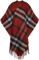 Gestuz Malou Burnt Sienna Check Wool Poncho