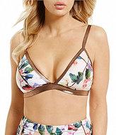 Gianni Bini Swim Floral Bra Sized Triangle Top with Rose Gold Trim