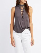 Charlotte Russe Mock Neck Lace-Up Tank Top