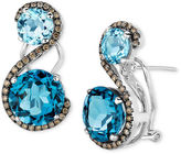 LeVian Le Vian 14k White Gold Earrings, Blue Topaz (7-5/8 ct. t.w.) and Chocolate Diamond (3/8 ct. t.w.) 2 Stone Earrings