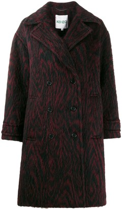Kenzo Animal Print Double-Breasted Coat