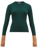 J.W.Anderson Contrast-cuffs Wool Sweater - Womens - Green