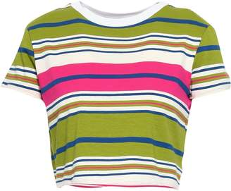 RED Valentino Cropped Striped Cotton-blend Jersey T-shirt