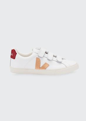 Veja 3 Grip-Strap V-Lock Leather Flat Sneakers