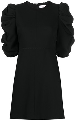 See by Chloe Draped-Sleeved Fitted Short Dress