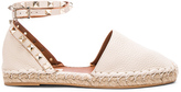 Valentino Rockstud Double Flat Leather Espadrilles in White.