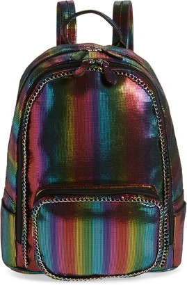 Bari Lynn Rainbow Stripe Water Repellent Backpack