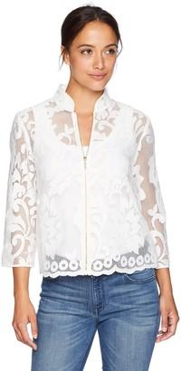 Kasper Women's Petite Floral Lace Jacket with Zipper