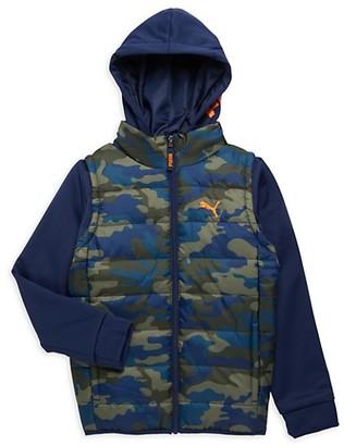 Puma Little Boy's Camouflage-Print Twofer Vest Jacket