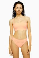 Topshop Peach Velour High Waist Bikini Tanga Bottoms