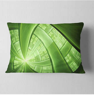 """Designart Green Fractal Exotic Plant Stems Abstract Throw Pillow - 12"""" X 20"""""""
