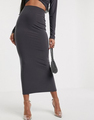 Aym Studio AYM Premium bodycon midaxi skirt coord in charcoal two-piece