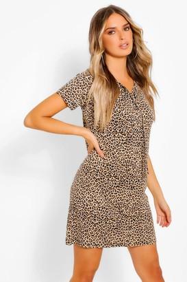 boohoo Leopard Print Lace Up T-Shirt Dress