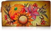 Anuschka Anna By Handpainted Leather Two Fold Wallet,Fall Bouquet Wallet