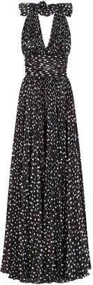 Dolce & Gabbana Polka-Dot Floor-Length Dress
