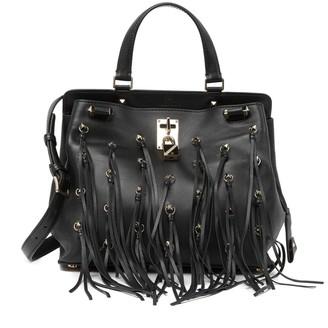 Valentino Leather Studded Fringe Satchel
