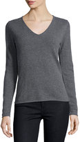 Neiman Marcus Cashmere V-Neck Long-Sleeve Pullover Sweater, Gray