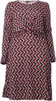 Evans **Izabel Curve Red Geo Print Ruched Dress