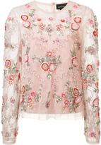 Needle & Thread floral embellishment sheer blouse