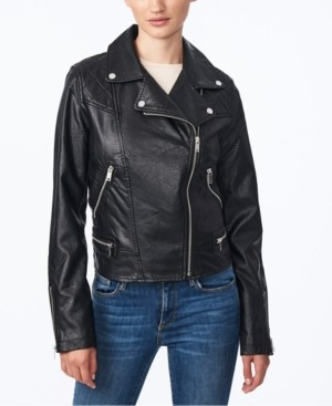 Collection B Juniors' Faux-Leather Moto Jacket, Created for Macy's