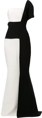 Saiid Kobeisy Asymmetric Colour Block Gown