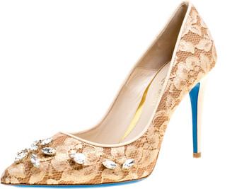 Loriblu Bijoux Beige Lace Crystal Embellished Pointed Toe Pumps Size 40