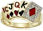 Amazon Collection Men's 10k Yellow Gold Diamond Poker Ring (1/10 cttw, I-J Color, I2-I3 Clarity), Size 10